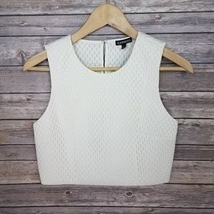 Express Textured Keyhole Side Zip Crop Top NWT